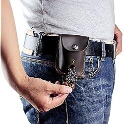 Bolsillo de piel de carga automática para tirachinas, bolsa de munición para perdigones o bolas para tirachinas, caza o pistolas de aire comprimido o airsoft, mujer hombre, magnet closure brown