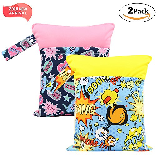 2 Pack Baby Wet and Dry Cloth Diaper Bags Waterproof Reusable with Two Zippered Pockets,11.8x 14.6,Animals bang 2 Pack