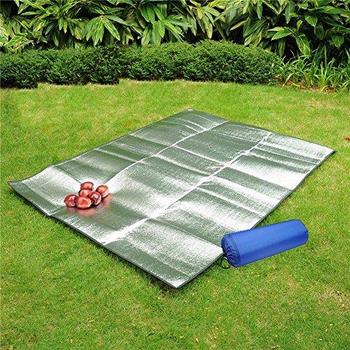 Picknick Decke Teppich Wasserdicht Tragbar Faltbar Aluminium Folie Schlafsack Matratze Beach Kissen BBQ Pad für Outdoor Camping Yoga Rasen Matte feuchtigkeitsfest (200x 200cm) ()