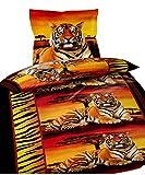Leonado Vicenti 6 tlg. Bettwäsche 135 x 200 cm in orange/schwarz Tiger Sonnenuntergang aus Microfaser mit Reißverschluss Sparset mit Spannbettlaken