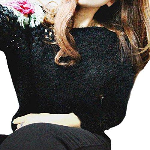 LuckyGirls Damen Pullover Stickerei Rosen Haken Blumen Hohle V-Ausschnitt Tops (Rose Und Slipper Die Kostüme Die)