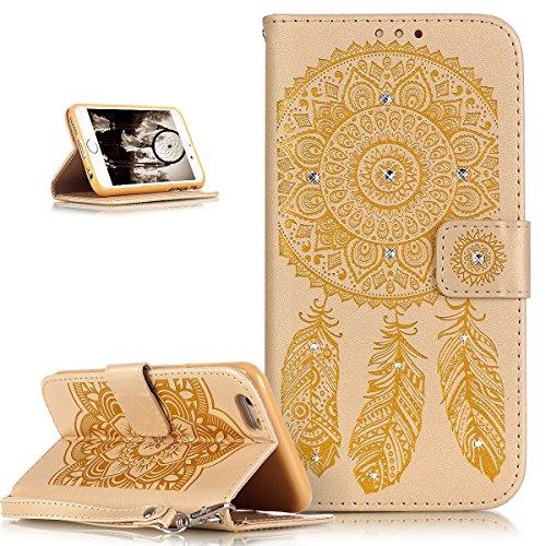 iPhone 6S Plus / 6 Plus Hülle (5,5 Zoll),iPhone 6S Plus Hülle,iPhone 6 Plus Hülle,ikasus® Handyhülle iPhone 6S Plus / 6 Plus Ledercase Tasche Hüllen Brieftasche Luxus Funkelnde Kristall Strass Glänzen Gelb