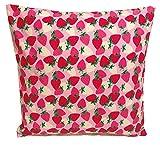 TryPinky Kissenhülle 35 X 35 cm Erdbeeren Rosa Pink Erdbeere Sommer Ostern Kissenbezug für Kissen 100% Baumwolle BW Mädchen Geschenk Kinderzierkissen Dekokissen strawberry