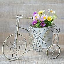Macetero de Forja Bicicleta Edición Vintage Color Blanco Rozado Decoración Terraza Jardín Hogar y más