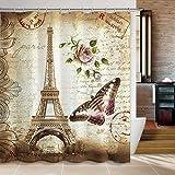 Duschvorhang, Tezoo Badezimmer-Gardine Eiffelturm Dekorative Anti-Schimmel Schimmelresistenter Anti-Bakteriell Wasserdicht Wasserabweisender Waschbar Chic Design für 180×180 cm