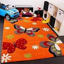 PHC - Tappeto per camera dei bambini, motivo: farfalle, colore: Arancione/Crema/Verde/Rosa 80 x 150 cm