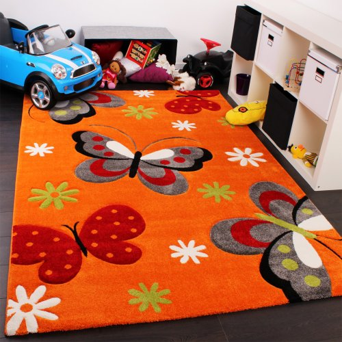 Children's Rug with Butterfly Pattern in Orange / Cream / Green / Pink 160x230 cm