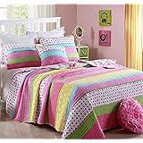 beddingleer algodón para niñas costura patchwork colchas edredones, pájaros de mariposa colcha juego