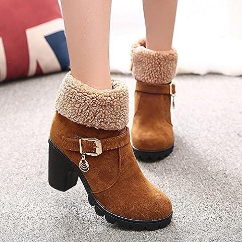 SHIXR Ladies spessore nuovo autunno ed inverno stivali con lato cerniera heel alta moda brevi stivali Martin stivali , yellow , 38