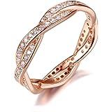 Qings Anello in Argento Sterling 925 Placcato Oro Rosa con Cubic Zirconia Diamanti Simulati Regali per Lover