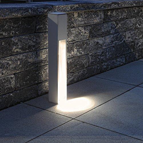 Wegeleuchte Aluminium silber-grau 75 cm   einseitiger Lichtaustritt + E27 + IP43 + robust + winterfest + dimmbar + indirektes Licht   Gartenbeleuchtung   Außenlampe   Standleuchte   Außenleuchte