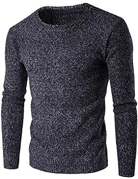 Honghu Casual Jersey para Hombre, Navidad Manga Larga Cuello Redondo Suéter Top Tejido Sweater Gris oscuro XL