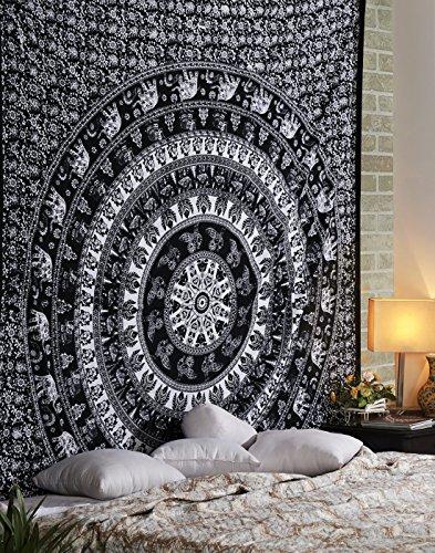 Indisch 88x84 Deko Schwarz Tapisserie Baumwolle Tapestry Elephant Gedruckt Von Rajrang (Rabatt Wohnkultur Stoff)