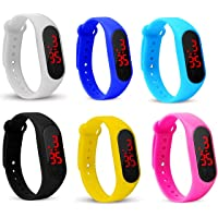 Style Keepers Silicone Slim Digital LED Black Dial Boy's and Girl's Bracelet Band Watch - Combo Set of 6 Watch for Kids…