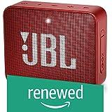 (Renewed) JBL Go 2 Portable Waterproof Bluetooth Speaker with mic (Red)