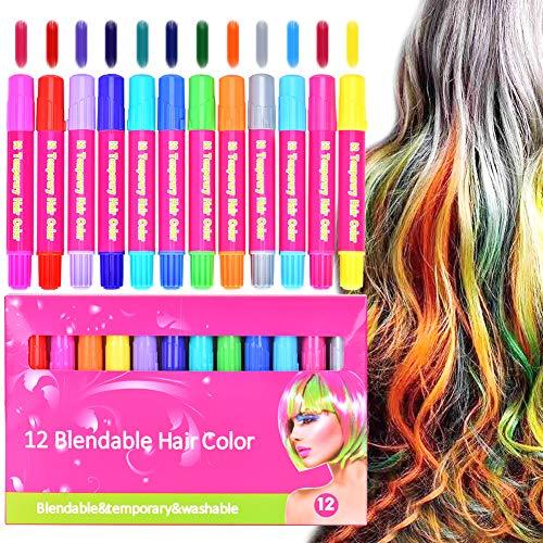 Haarkreide, Queta 12 Farben Kinder Haartönung Temporäre Gesichtsbemalung Auswaschbares Haarfärbemittel für Cosplay, Party, Halloween, Weihnachtsgeschenke für Mädchen ab 3 Jahren & Erwachsene