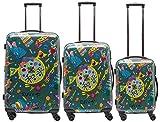 Packenger One World by Della 3er-Koffer, Trolley, Hartschale set in Olivgrün, Größe M, L und XL