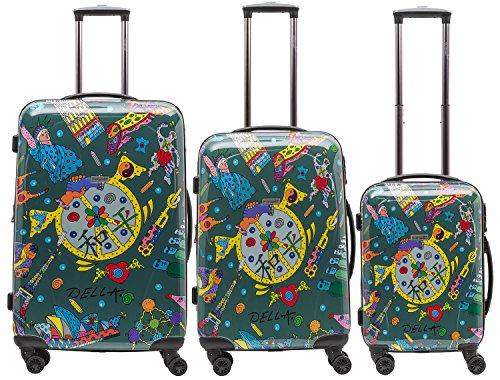 Packenger One World by Della, ens. de 3 valises à roulettes, coque dure, vert olive, tailles M, L et XL