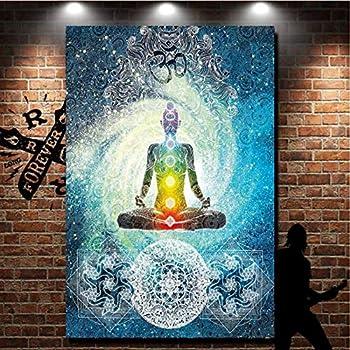 GTZXHNM Tapisserie Murales,Statue De Bouddha Dor/é Brillant Style Indien Mandala Psych/éd/élique Hippie Boh/ème,Impression Grand Format pour Tissu Accueil Salon Chambre /À Coucher D/écoration Murale Mur,1