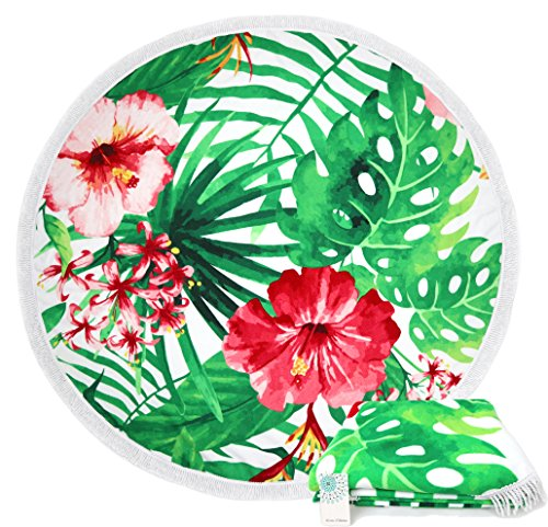 Leana Collection Serviette Plage Ronde Mandala Épaisse Tapisserie Coton Avec Frange Ultra-épais Mat Yoga Hippie Tapis Beach Ete Cadeau