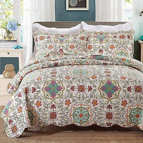 Beddingleer Tagesdecke Patchwork Baumwolle Tagesdecken Bettüberwurf  Gesteppt 230 X 250 Cm 3 Teilig Für Doppelbett Sofa Im Marokko Stil
