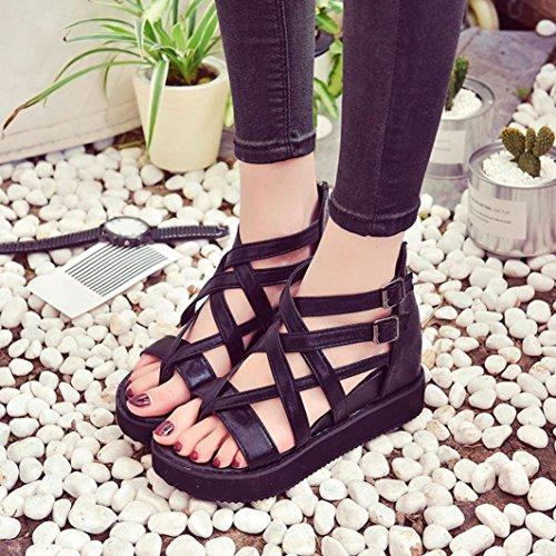 Saingace Frauen Sommer Peep-Toe Niedrige Sandalen Schuhe Römische Sandalen Damen Flip Flops Schwarz