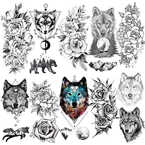 Laroi 10 fogli adulti donna tatuaggi temporanei lupo geometriche impermeabili adesivi tatuaggio nero ragazze braccio 3d peonia fiore tatuaggio temporaneo finti disegni illustrazione temporary tattoos