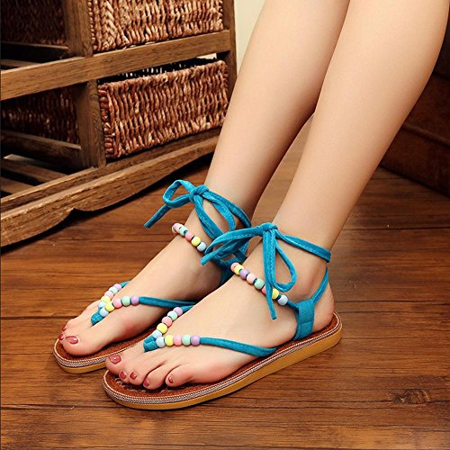 GJDE Sandali elastici della Boemia del sandalo della sabbia rotonda delle donne Blue
