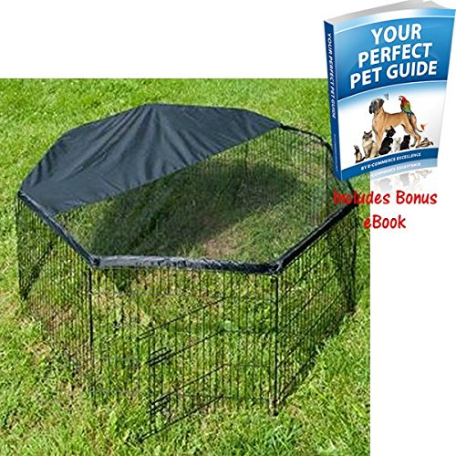 extra-tall-metal-pet-run-for-your-rabbit-guinea-pig-or-small-dog-epoxy-coated-easy-to-collapse-black