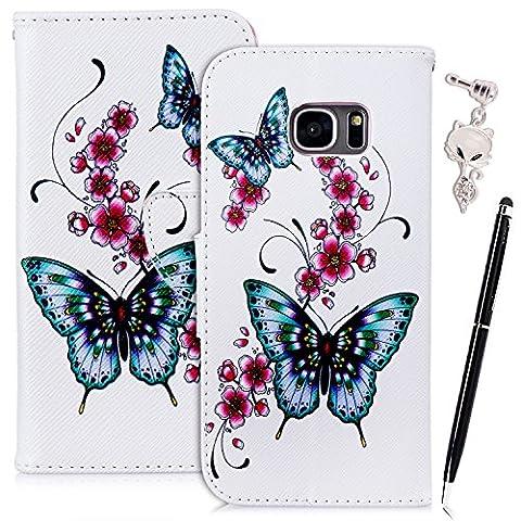 Etui Samsung S7 Edge , Anfire Fleur et Papillon Motif