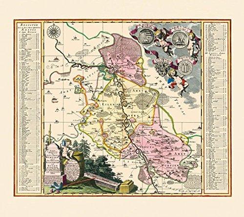 Historische Karte: Stifts Amt Wurzen mit den Ämtern Eilenburg und Düben 1753 (Plano): KURFÜRSTENTUM SACHSEN | LEIPZIGER KREIS