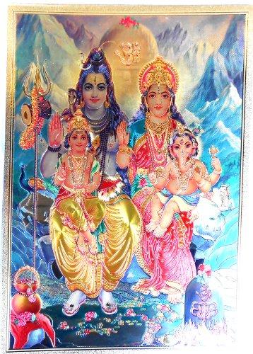 Bild POSTER Shiva Parvati Ganesha Ganesh goldfarben aus Kunststoff 30x21 cm Nr.31 (Shiva-bild)