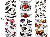 6Láminas Tatuajes Negro y multicolor rosas diamantes Pájaros Muelle Rose Letter