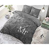SLEEP TIME Housse De Couette Coton Monsieur et Madame, 240cm x 220cm, Avec 2 Housse D'oreiller 60cm x 70cm, Gris
