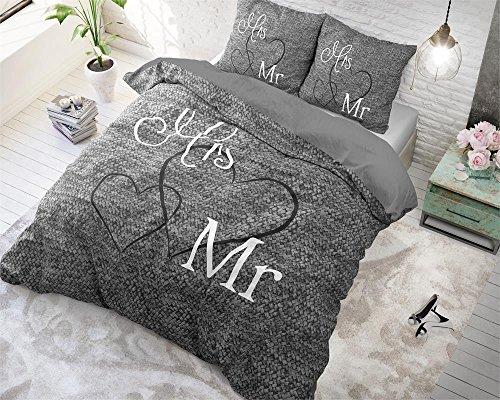 Housse de couette Sleeptime Monsieur et Madame, 240cm x 220cm, Avec 2 Housse D'oreiller 60cm x 70cm x 70cm, Gris