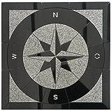 Granit Rosone 67x67 cm für Draußen Windrose Mosaik Einleger Schwarz Weiss 036