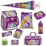 Disney Princess Rapunzel Prinzessin Schulranzen Set 10tlg. mit Federmappe Dose Flasche Sporttasche Schultüte Scooli Campus Up RAVT8252