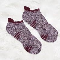 OULII Calcetines deportivos para hombre de 1 par Calcetines deportivos antideslizantes de corte bajo para correr (rojo vino)
