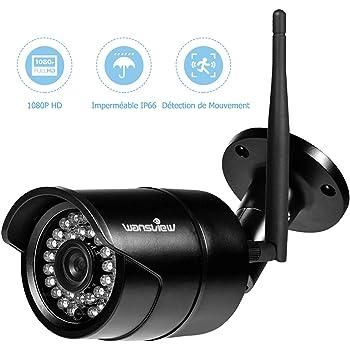 Wansview Caméra IP Extérieur,Caméra de Sécurité 1080P sans Fil, Etanche IP66 / Vision Nocturne W2 (Noir)