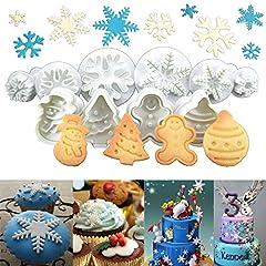 Idea Regalo - Anokay set 10 pz Formine ad Esplsuesione per Biscotti Bianco per Decorazioni Biscotti Decorazioni in Forma di Fiocchi ,Bambolotto , Babbo Natale , Albero di Natale