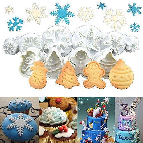 Anokay set 10 pz formine ad esplsuesione per biscotti bianco per decorazioni biscotti decorazioni in forma di fiocchi ,bambolotto , babbo natale , albero di natale