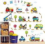 Wallpark Dessin animé Ingénierie Vehicle Camion Amovible Stickers Muraux Autocollants, Enfants Bébé Chambre Pépinière DIY Décoratif Adhésif Stickers Mural