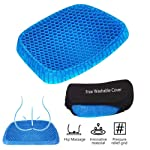 Gel Seat Cushion Pad Support Coccyx Cushion Honeycomb Air Circulation with Breathable Cover Non Slip Buttom for Car Home...