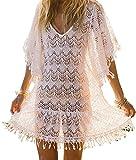 Luojida Strandponcho Damen Schwarz Strandkleid Knielang Weiß Poncho Damen Sommer Weiß Strandkleid mit Spitze Bikini Cover up Chiffon (Einheitsgröße, 404)