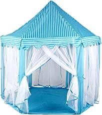 Karp Outdoor and Indoor Hexagon Castle Play Tent with Mosquito Net Design for Kids, 135x140cm (Blue)