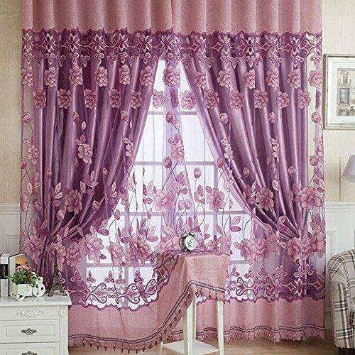Tende trasparenti con occhielli ricamate fiori loto tende finestre per camera da letto soggiorno salotto tendaggio ricamato 250cm lavanda (viola chiara)