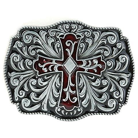 Senmi Celtic Irish Knot Red Enamel Cross Belt Buckle-with Senmi Box Gift Wrapped