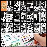 Zeichenschablonen, 20 Stück Zeichen Schablonen Grafiken Schablonen Kunststoff Zeichnung Vorlage Sets Multifunktionale Zeichnung Lineal für Bullet Journal, Scrapbooking, Karten und DIY Craft