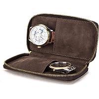 Hiram Montre Bracelet Sac De Rangement Etui En Cuir 2 Pièces, Montre De Voyage Portable Pochette En Cuir Véritable, Sac…