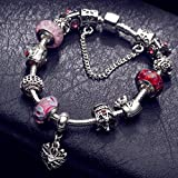 A TE® Armband Charms Blumen Glasperlen Herz Armbandanhänger Damen Geschenk 20cm #JW-B110 (Rosa) -